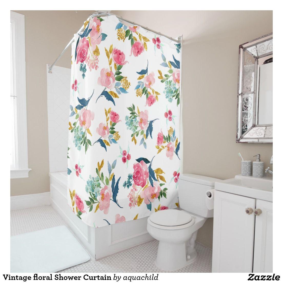 Vintage floral Shower Curtain | Floral shower curtains, Vintage ...