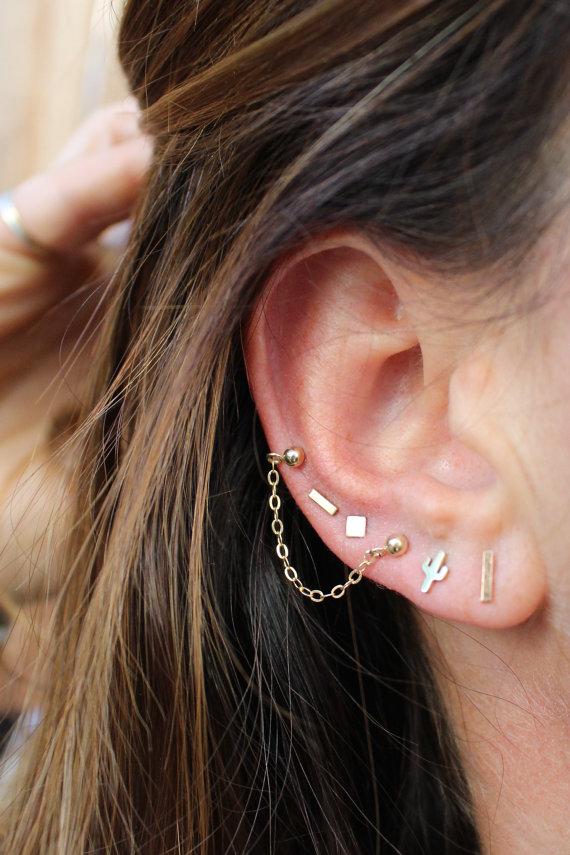 Delicate Stud Chain Earrings