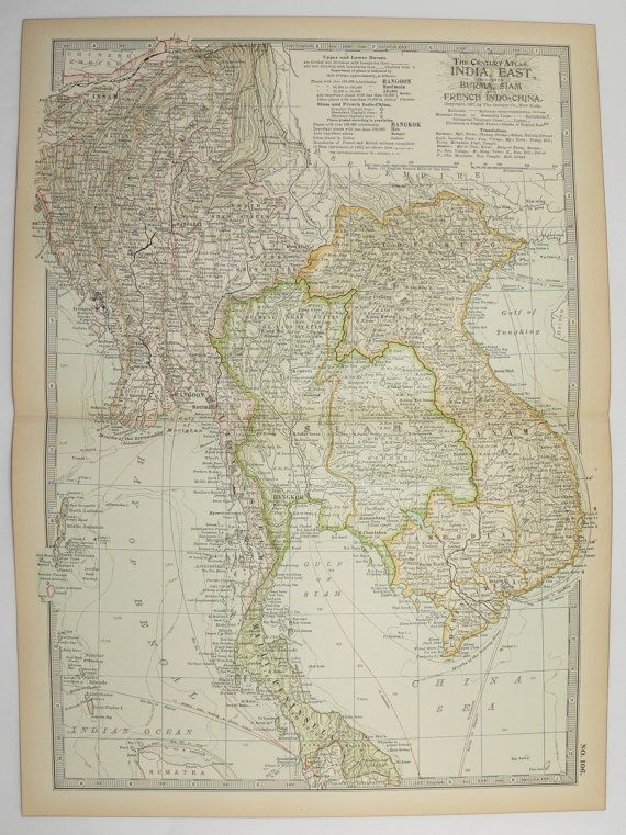 Vintage map of far east india map 1901 antique map vietnam cambodia vintage map of far east india map 1901 antique map vietnam cambodia map thailand gumiabroncs Choice Image