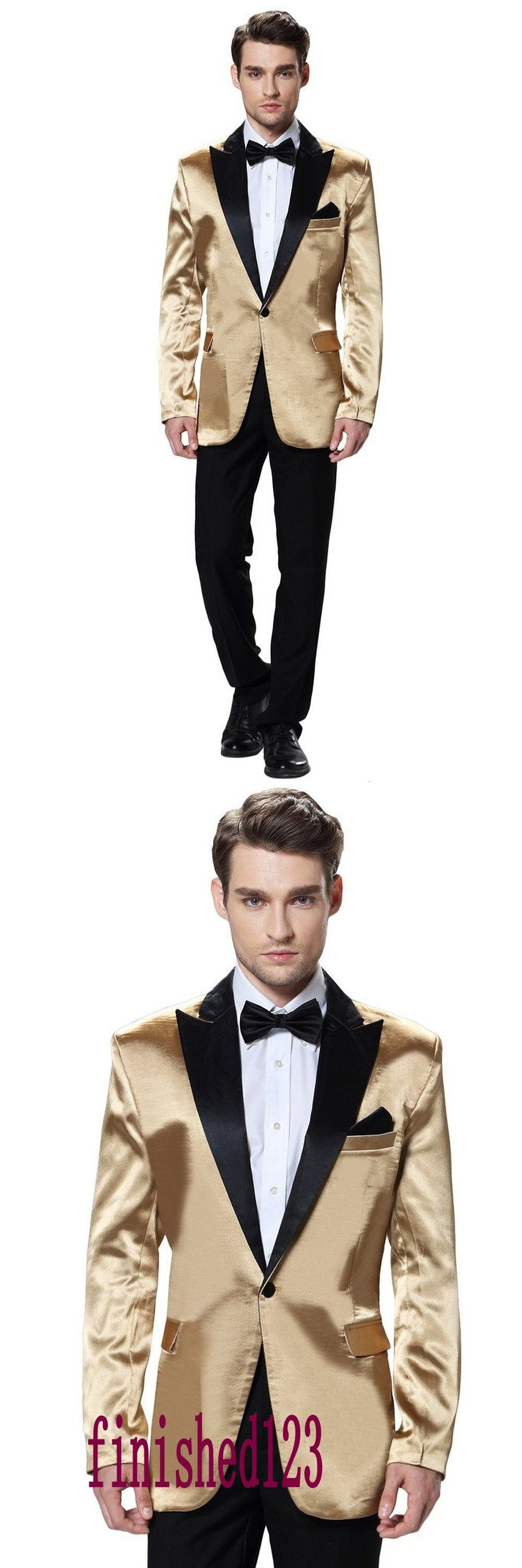 High Quality One Button Gold Jacket Groom Tuxedos Groomsmen Mens ...