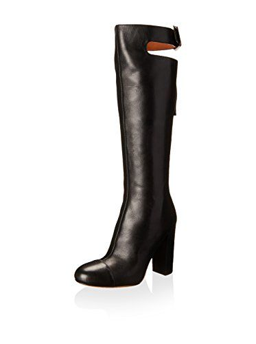 www.myhabit.com  Cap toe boot features a rear strap with adjustable buckle, rear zip, wrapped heel