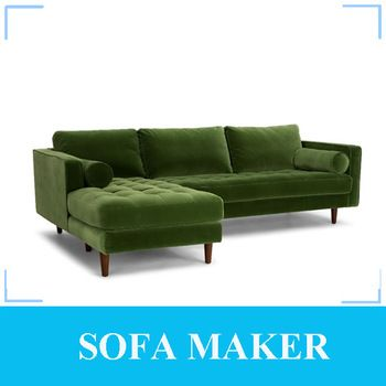 Top quality velvet fabric corner sofa with chaise lounge ...