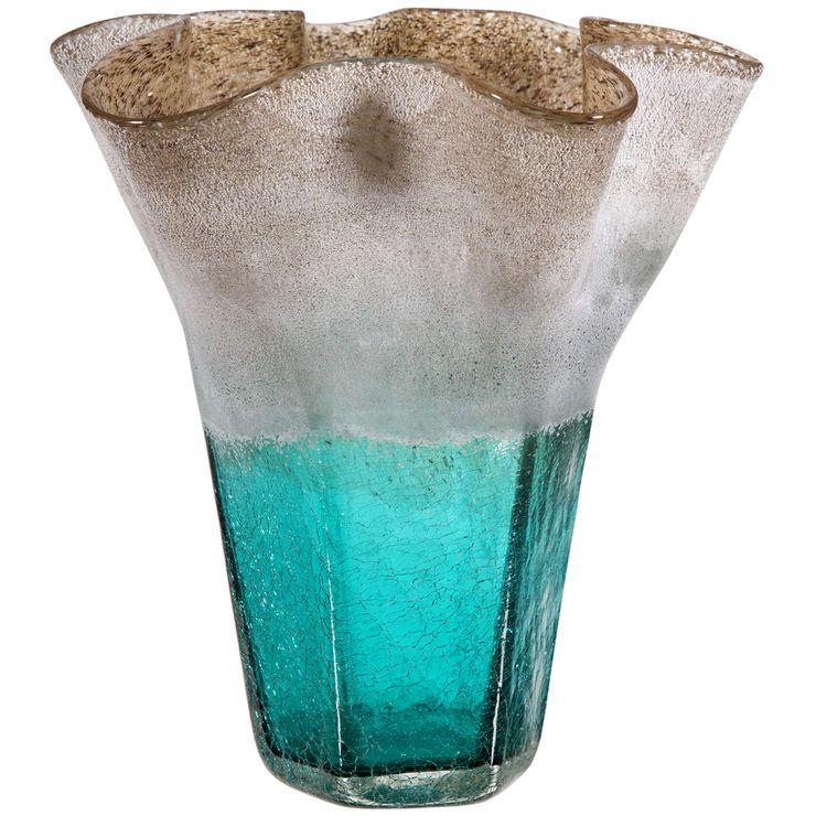 Aqua & Sand Glass Vase- 10-in