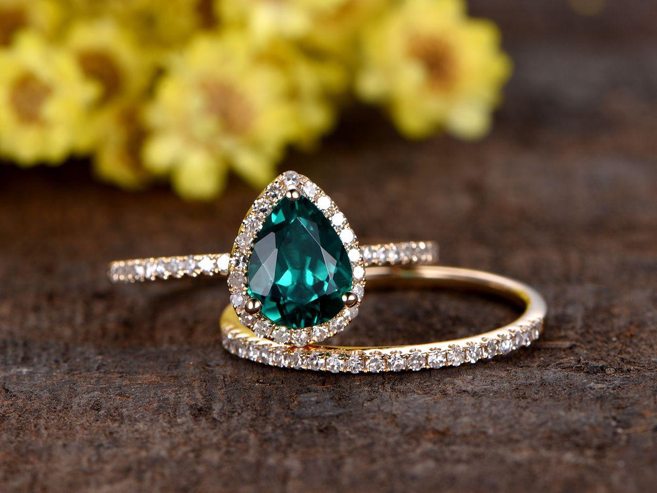 1 Carat Teardrop Emerald Wedding Set Diamond Bridal Ring 14k Rose Gold Stacking Thin Eternity Band Emerald Engagement Ring Set Diamond Wedding Rings Sets Emerald Engagement Ring