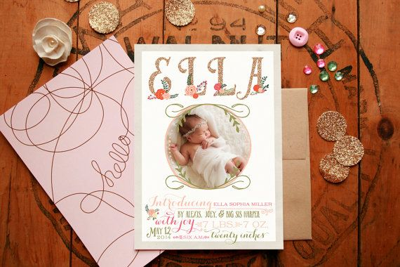 Floral Bohemian Baby Announcement Photo Cards by PaperPeachShop
