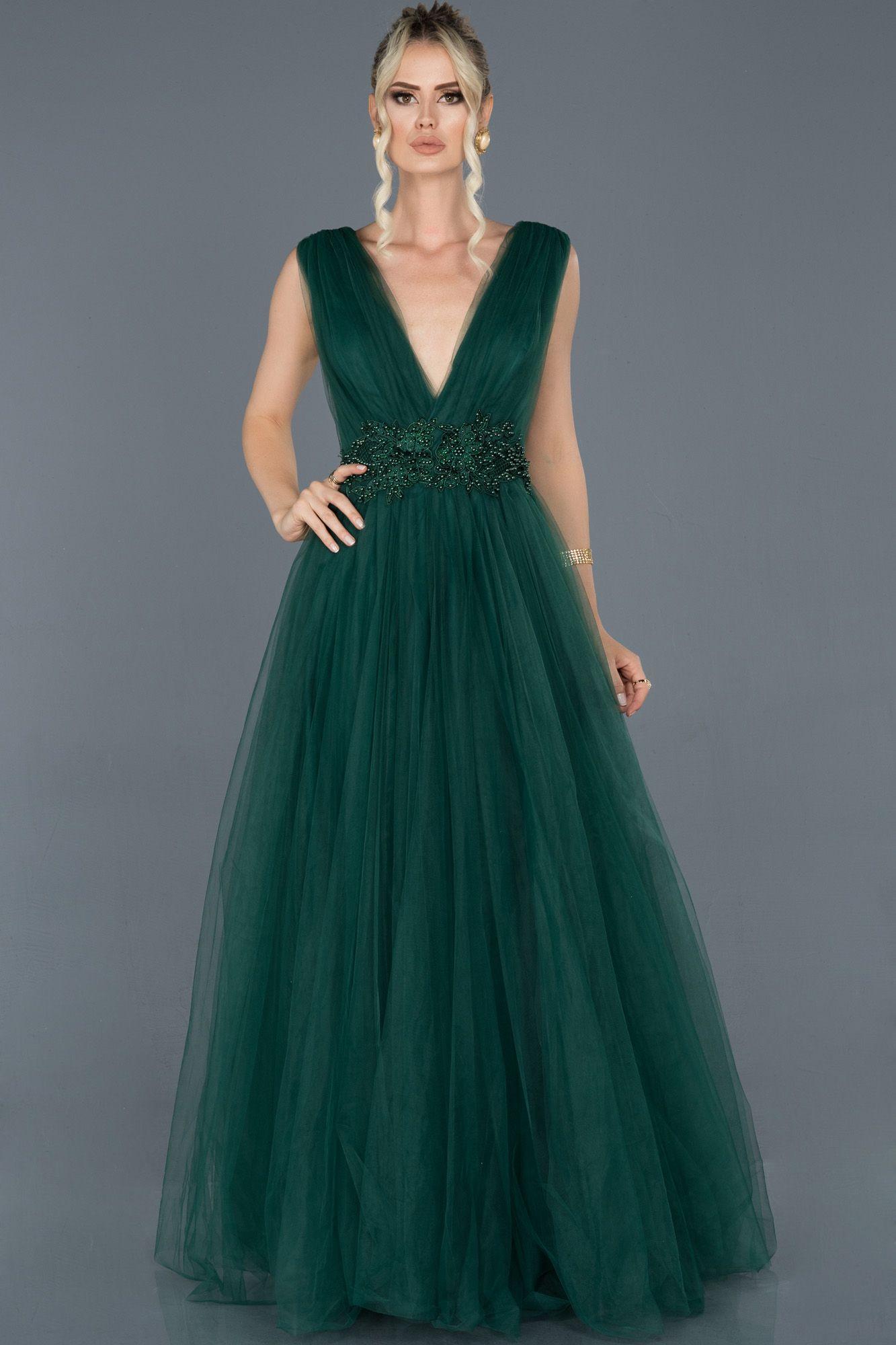 Zumrut Yesili Uzun Gogus Dekolteli Tul Abiye Elbise Abu950 2020 Elbise Modelleri Elbiseler The Dress