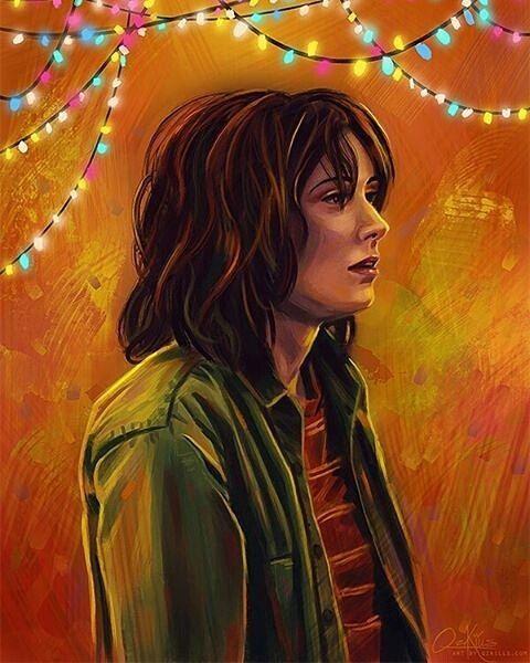 "Stranger Things. en Instagram: ""Joyce from Stranger Things by @qzkills (http://qzkills.deviantart.com/art/Joyce-629969539) -- love the colors! Congratulations to Winona…"""