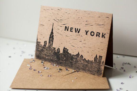 Hand printed New York skyline lino print card. Printed on recycled kraft card.