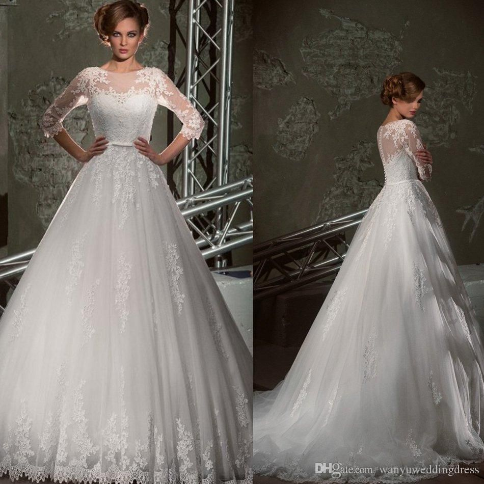 Luxury Tulle Three Quarter Sleeve A Line Wedding Dress: White Ivory Vintage Jewel Lace Wedding Dresses Three