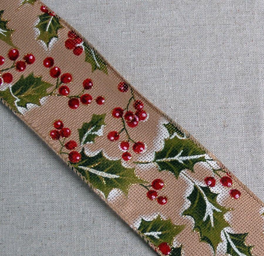 Holiday Ribbon Holly Print - Wired 2.5