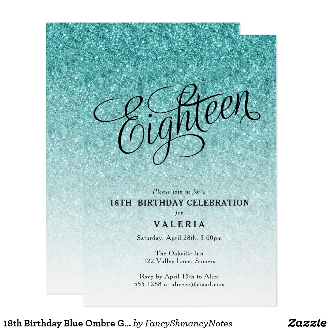 18th birthday blue ombre glitter