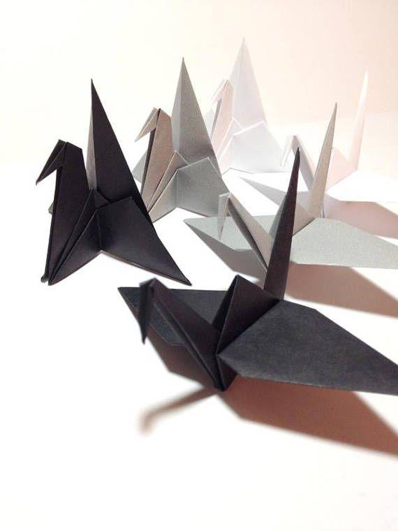 Photo of Black Origami Cranes Table Place Setting Black Grey White | Etsy