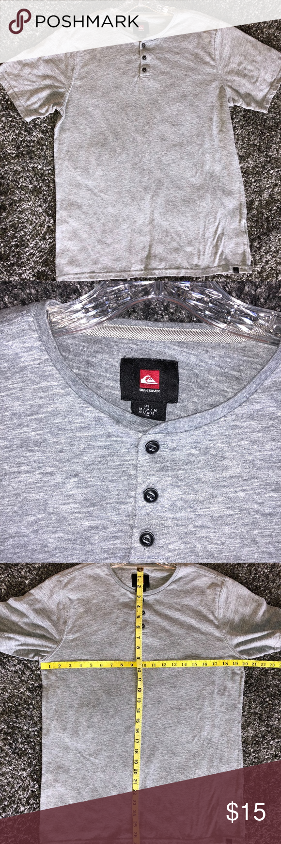 Quicksilver Men's Grey Short Sleeve 3 Button Tee Great men's