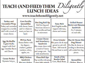 FREE HOMESCHOOL LUNCH IDEAS PRINTABLE