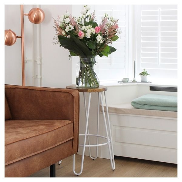 Photo of Hairpin Stool with Wood Seat Option – White 66cm