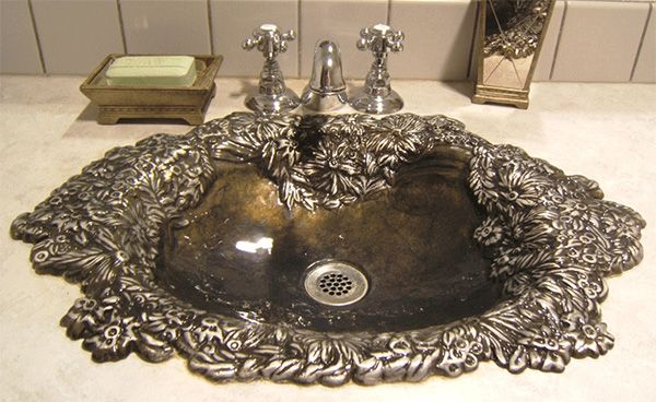 """The company Enviro Bath casts gorgeous metal sinks out of 100% recycled material, creating unique designs out of nothing more than waste. To think that such a unique looking fixture could find its way into our bathrooms and kitchens via a landfill it begs the question, """"if everything looks this good, why don't we recycle everything?"""" Well, we wish people did. <3"""