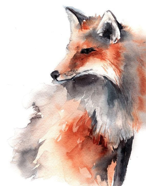 Fox Watercolor Animal Art Print From Original Watercolour Art