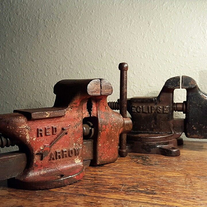 Vintage vises. Still work like new. Or admire them as industrial art. Find more of our vintage tools in Dallas at Lula B's Antique Mall and Benny Jack Antiques.