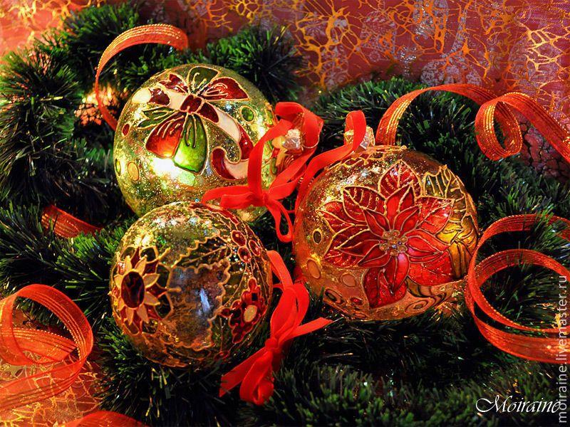 """Купить Набор стеклянных елочных шаров """"Рождество"""". Витражная роспись - стеклянный шар, елочный шар"""