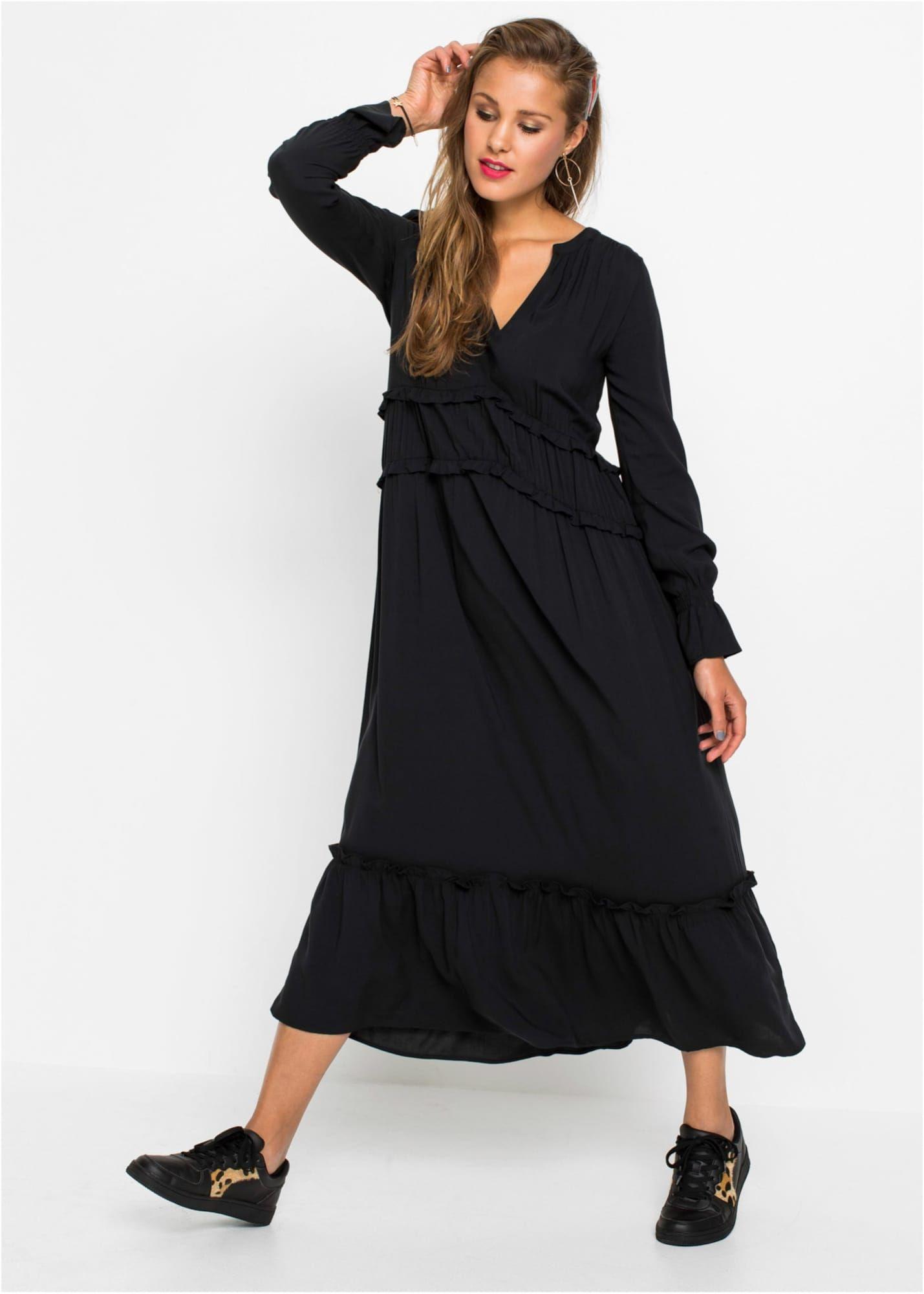 bonprix kleid damen, schwarz, größe 46 | kleider, maxi