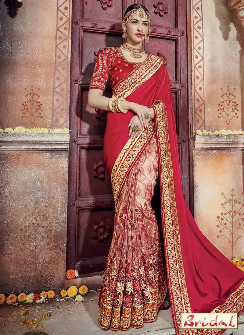 Beautiful Red Indian Bridal Wedding And Party Wear Saree Designs 2017