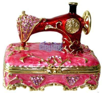Red Sewing Machine Crystals Jewellery Jewel Trinket Box Trinket Boxes Music Box Jewelry Trinket