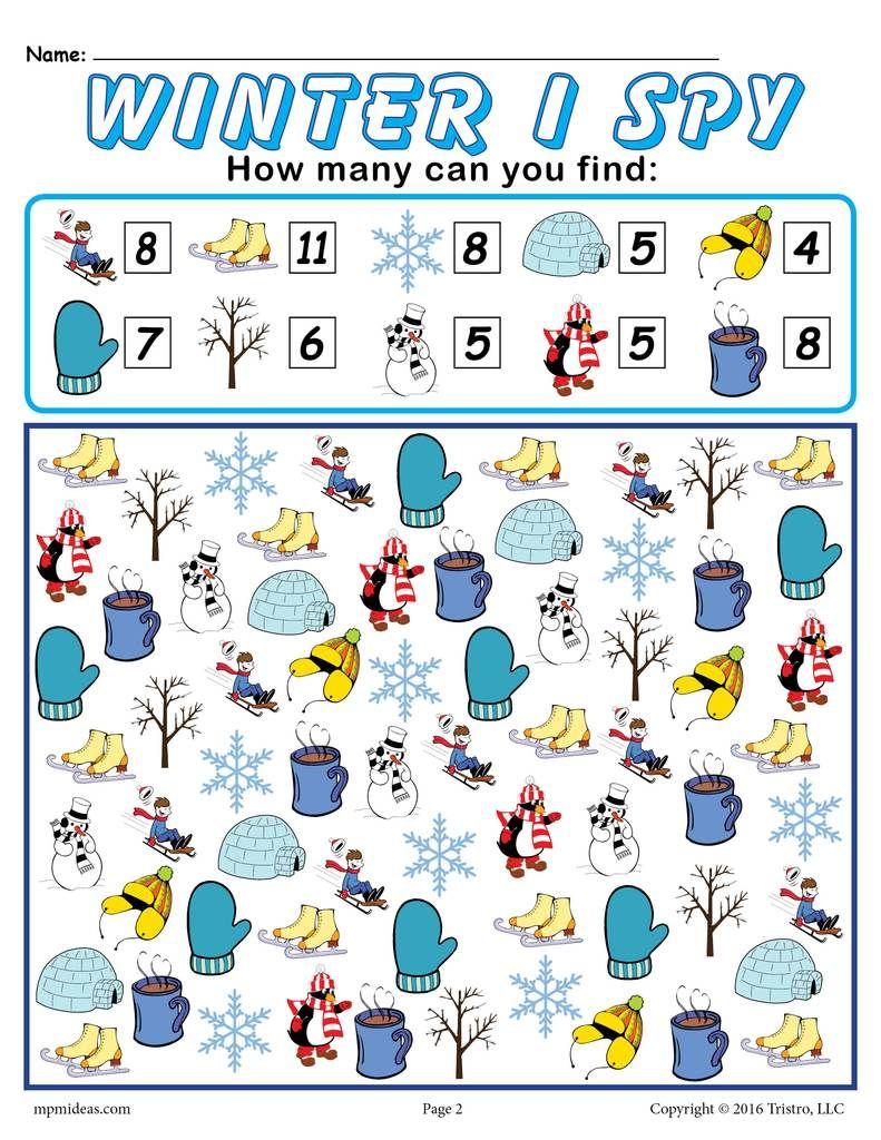 Winter I Spy Printable Winter Counting Worksheet Winter Preschool Christmas Worksheets Winter Crafts For Kids [ 1024 x 791 Pixel ]