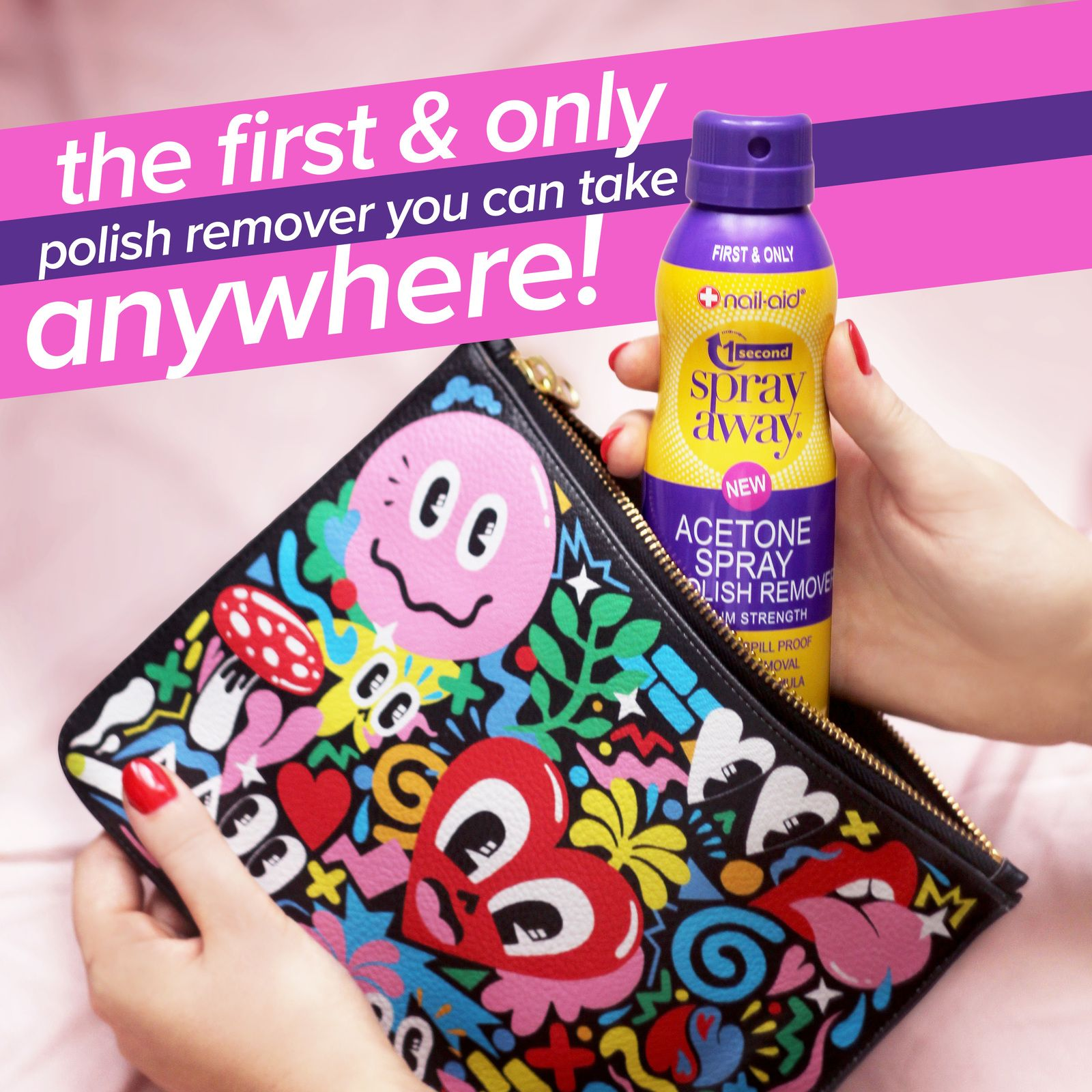 No leaks. No spills. NO MESS! 1 Second Spray Away is the only nail ...