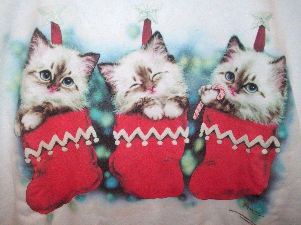 ROBERT ALLEN Mens L Women XL Ugly Christmas Sweatshirt Shirt Top Kitten Cats Wht #RobertAllenSportswear #PulloverSweatershirt