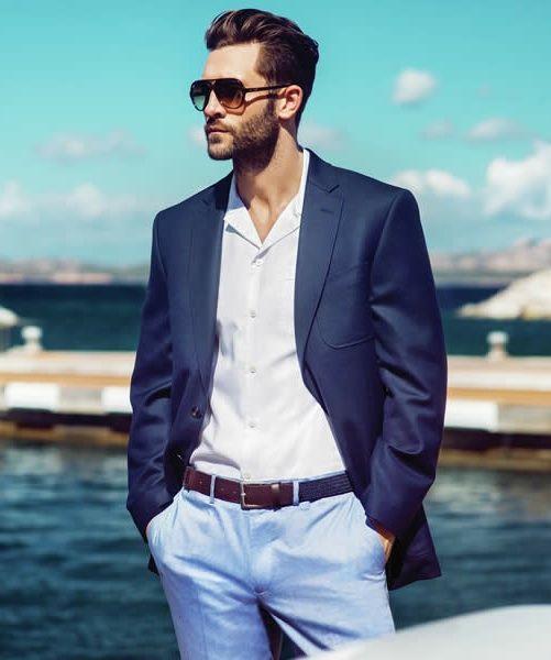 Men's Navy Blazer, White Dress Shirt, Light Blue Dress Pants, Navy ...