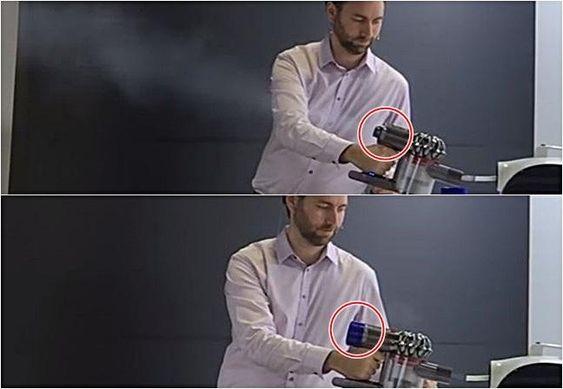 다이슨 V8 출시행사 당시 필터 장착을 통해 미세먼지를 막는 기술을 시연하고 있는 모습. 필터를 장착하지 않아 흰 연기가 그대로 배출되는 모습(위), 흰 연기가 필터를 거치면서 이물질을 제거된 뒤 공기만 배출하는 모습. /다이슨 제공