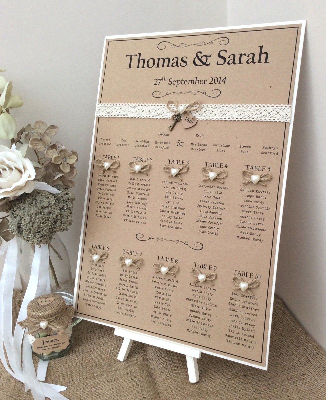 Rustic Wedding Seating Chart Ideas: Details About Rustic/Shabby Chic A3 Wedding Table Seating