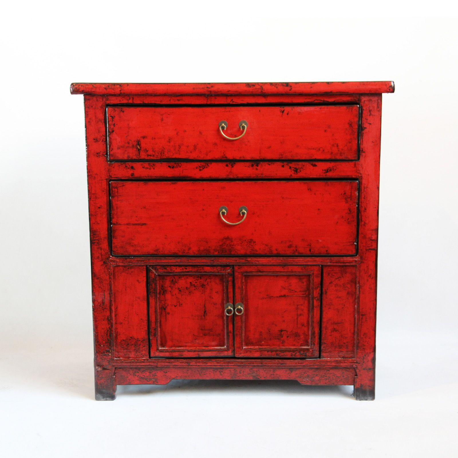 red lacquered furniture. Red Lacquer Side Cabinet With Two Drawers And Lower Cabinet. Distressed Black Lacquered Furniture A