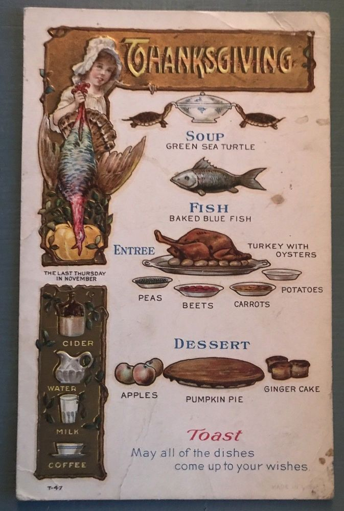 "Vintage Thanksgiving ""Grand Dinner Menu Food"" Antique"