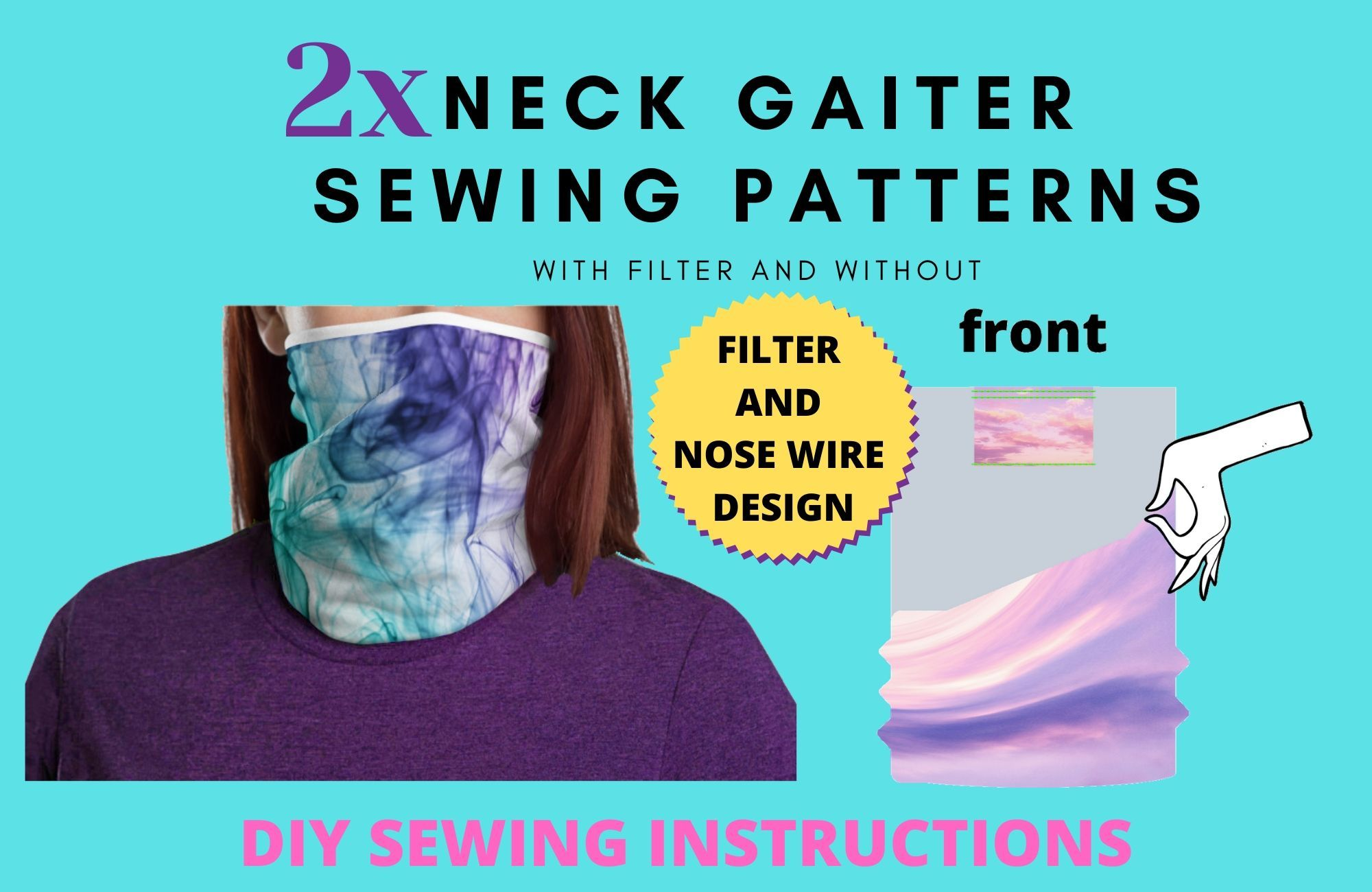 Neck Gaiter Pattern Neck Gaiter Instructions DIY Neck