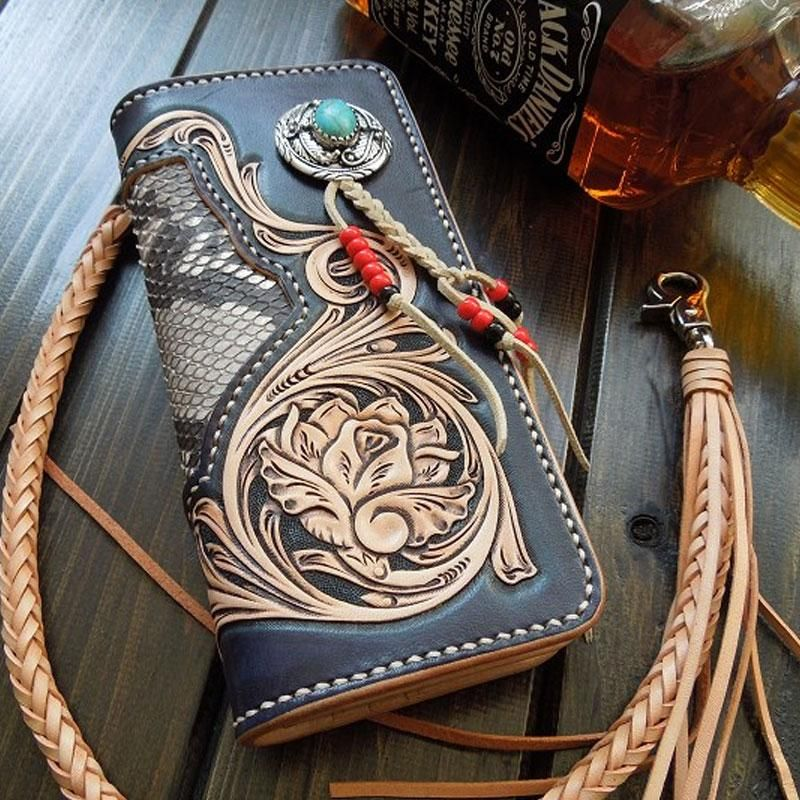 Handmade leather tooled floral mens clutch wallet cool
