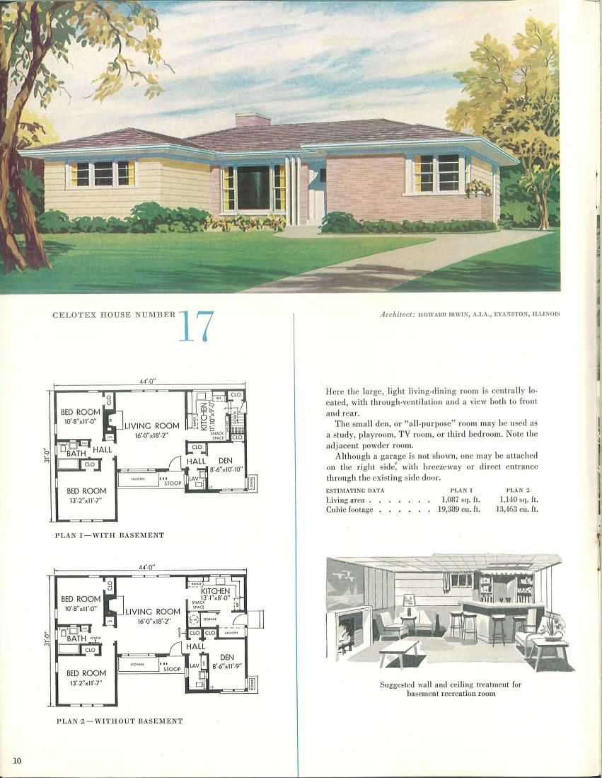 1952 The Celotex Book Of Home Plans House Plans Vintage House Plans Residential House