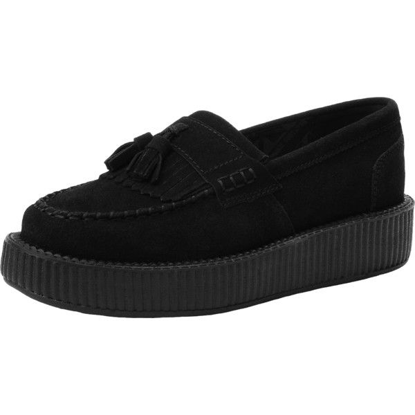 Black Loafer with Tassle Creeper | T.U.K. Shoes ($5.95) ❤ liked on Polyvore featuring shoes, loafers, loafers & moccasins, tassel shoes, black suede shoes, suede tassel loafers and tassel loafers