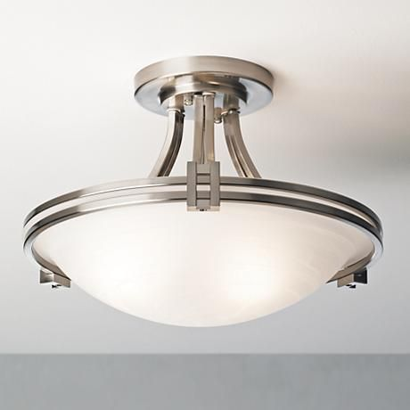 Possini Euro Deco 16 Quot Wide Brushed Nickel Ceiling Light 86200 Lamps Plus Ceiling Lights