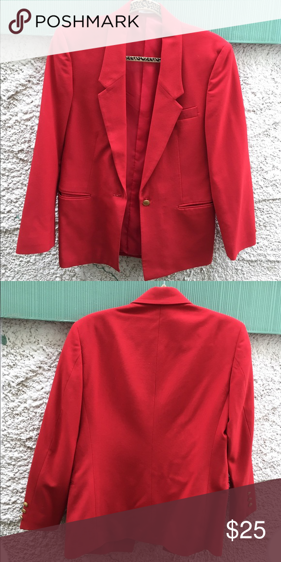 Blazer Red blazer with no stains or damages. Pockets are not pockets. They are suppose to be sewn but are opened. Blazer has gold buttons. Bought this from a thrift store. Size is medium/8. Jackets & Coats Blazers