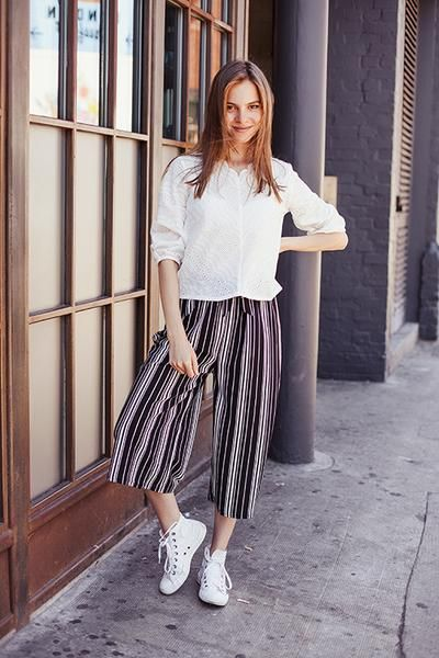 501c573bee9 Get your stripes on in these on-trend culottes. Featuring a self-tie