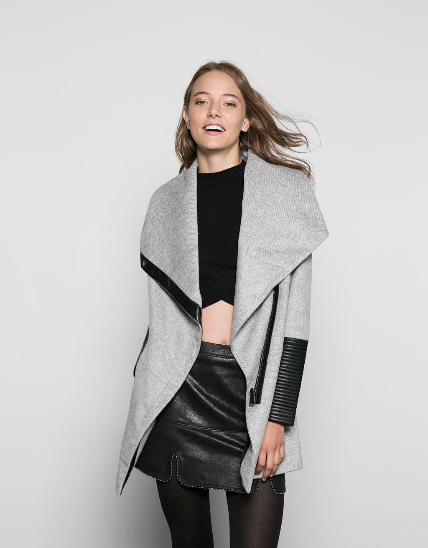 3525c7438334 Bershka Bosnia and Herzegovina - Bershka wool coat with imitation leather  detail