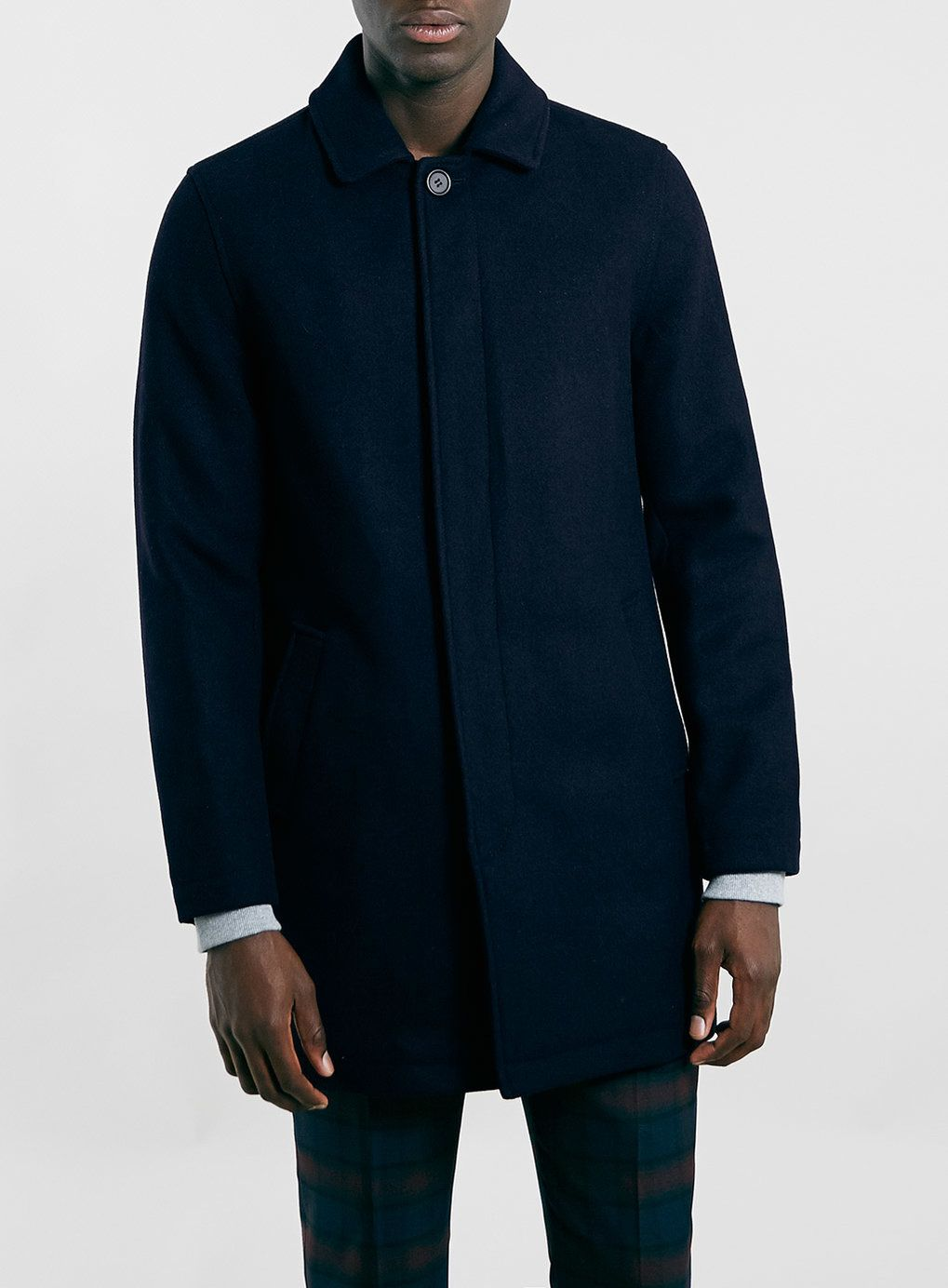 NAVY WOOL MIX SINGLE BREASTED MAC - Men's Coats & Jackets ...