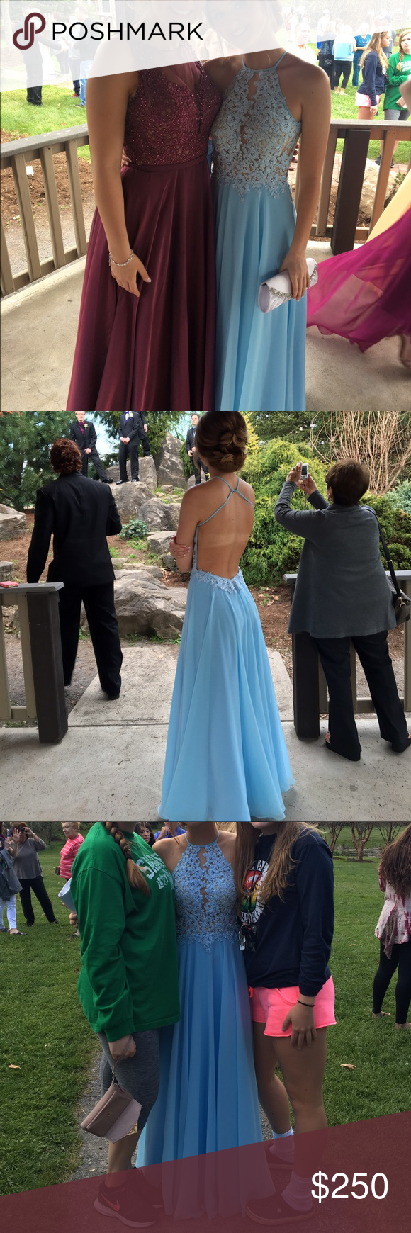 Selling this light blue halter prom dress size on poshmark my