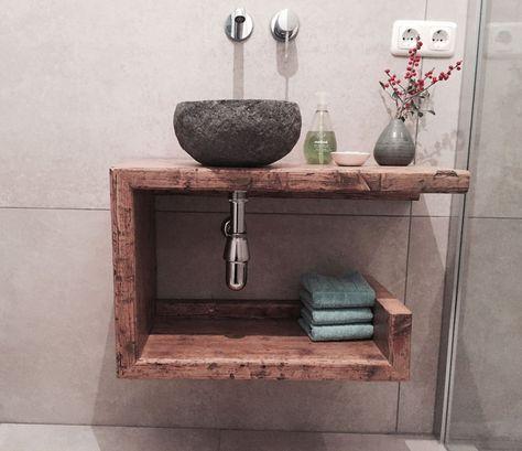Waschtisch Gäste-WC Waschbeckenschrank Holz   Waschbeckenschrank ...