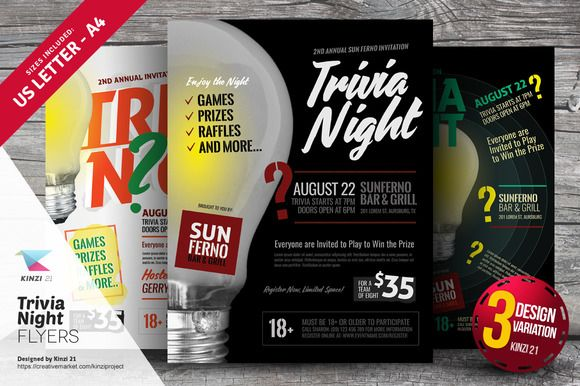 Trivia Night Flyer Template Bundle Flyer Template And Template