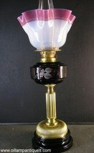 English Banquet Lamp for sale - Oil Lamp Antiques