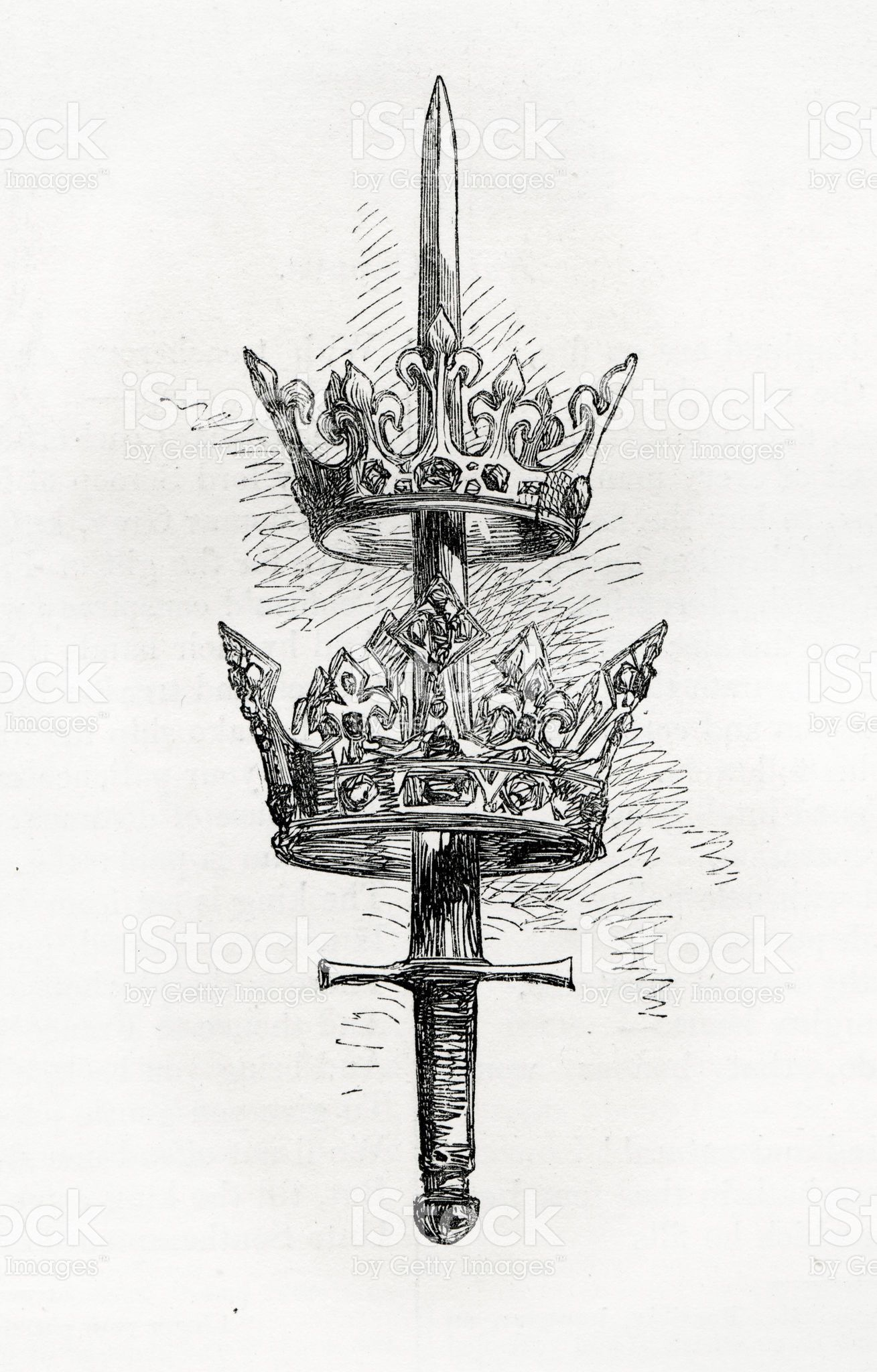 vintage engraving of a sword and crowns engraving from 1858 photo by tattoo pinterest. Black Bedroom Furniture Sets. Home Design Ideas