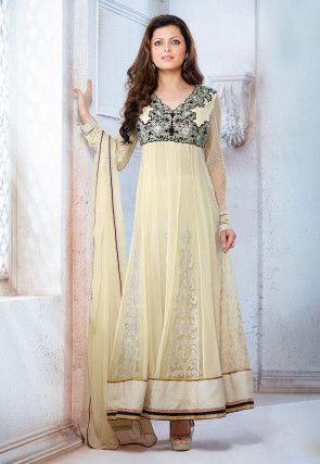 Gestickte Abaya Art-Chiffon- und Net-Anzug in Creme | kleider ...