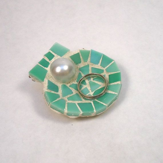 Small Seashell Ring Holder Dish Made from Sea Green Stained Glass